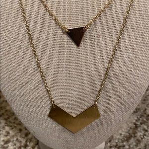 Gold Double Strand Geometric Necklace